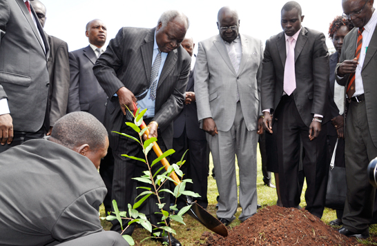 Former president Mwai Kibaki planting trees on tree planting day